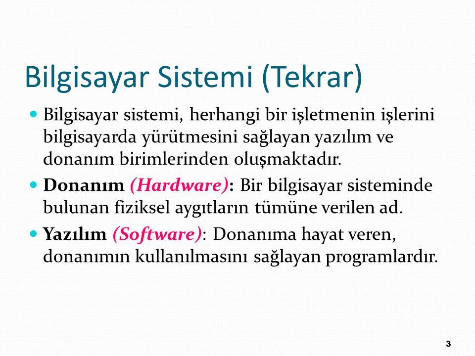 Bilgisayar Sistemi (Tekrar)