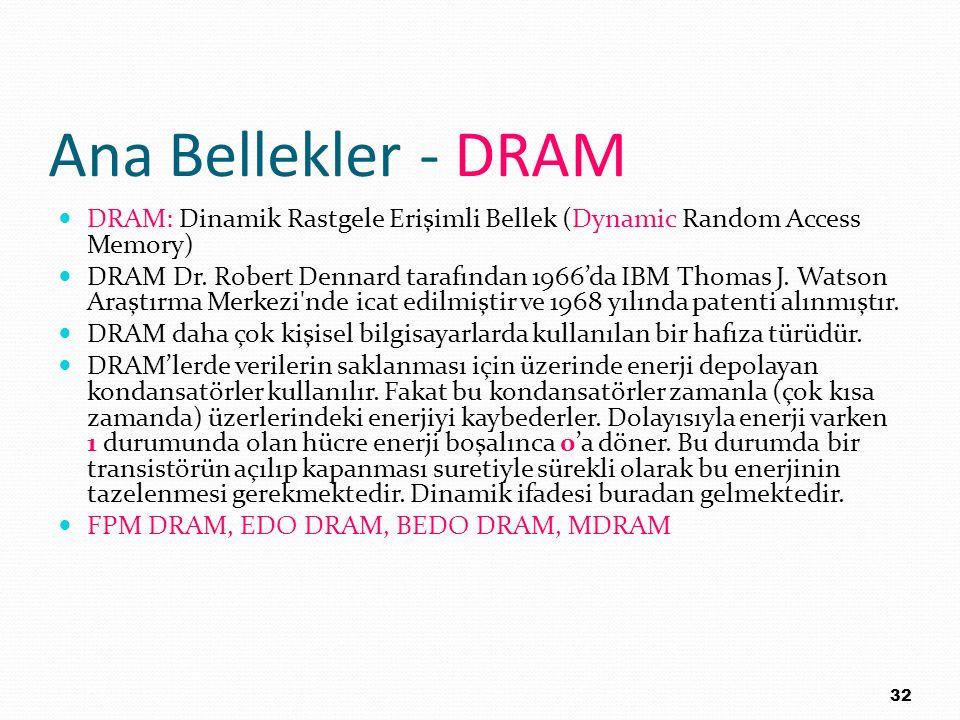 Ana Bellekler - DRAM DRAM: Dinamik Rastgele Erişimli Bellek (Dynamic Random Access Memory)
