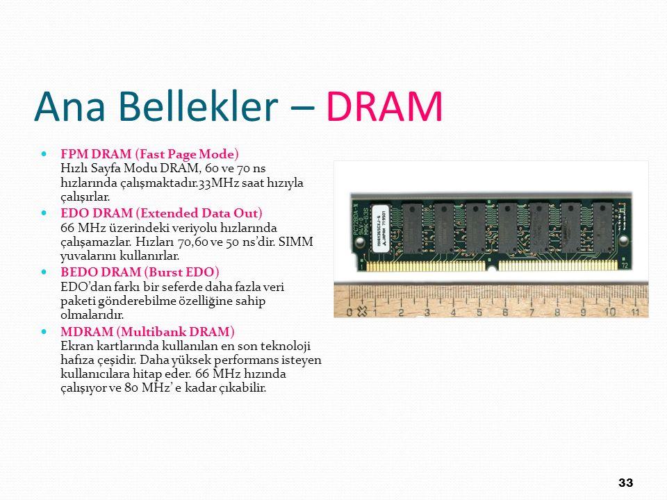 Ana Bellekler – DRAM FPM DRAM (Fast Page Mode) Hızlı Sayfa Modu DRAM, 60 ve 70 ns hızlarında çalışmaktadır.33MHz saat hızıyla çalışırlar.