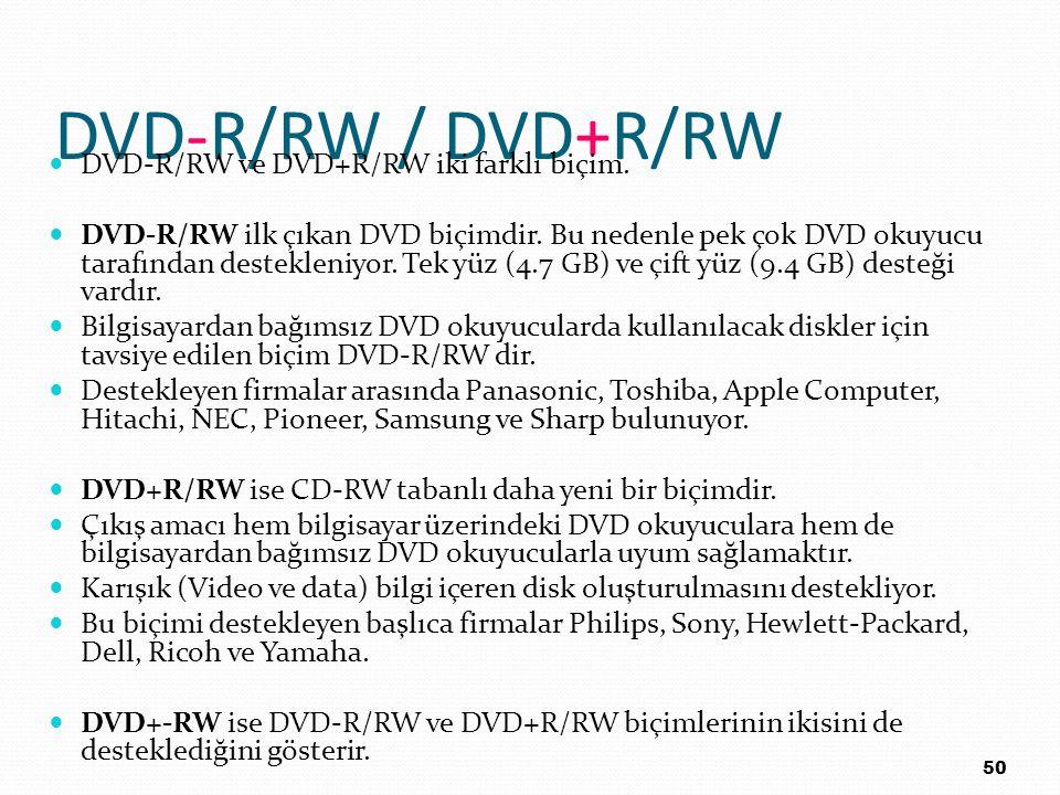 DVD-R/RW / DVD+R/RW DVD-R/RW ve DVD+R/RW iki farklı biçim.