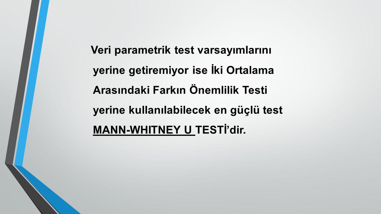 Veri parametrik test varsayımlarını yerine getiremiyor ise İki Ortalama Arasındaki Farkın Önemlilik Testi yerine kullanılabilecek en güçlü test MANN-WHITNEY U TESTİ'dir.