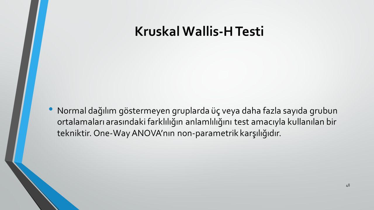 Kruskal Wallis-H Testi
