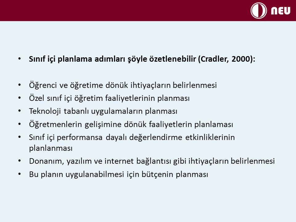 Sınıf içi planlama adımları şöyle özetlenebilir (Cradler, 2000):