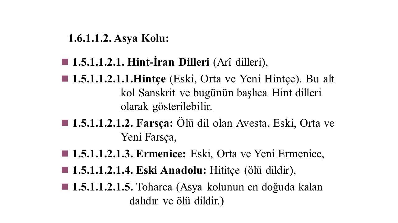 1.6.1.1.2. Asya Kolu: 1.5.1.1.2.1. Hint-İran Dilleri (Arî dilleri),