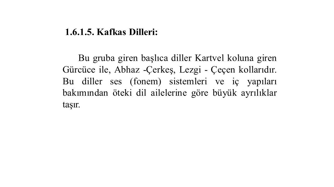 1.6.1.5. Kafkas Dilleri: