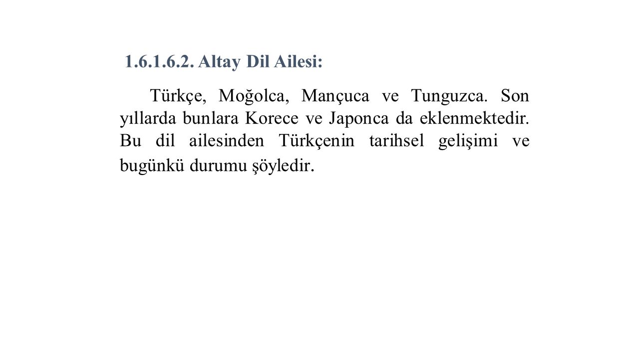 1.6.1.6.2. Altay Dil Ailesi: