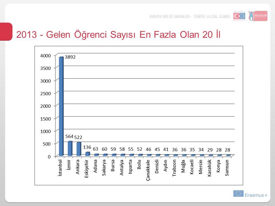2013 - Gelen Öğrenci Sayısı En Fazla Olan 20 İl