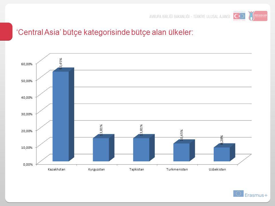 'Central Asia' bütçe kategorisinde bütçe alan ülkeler: