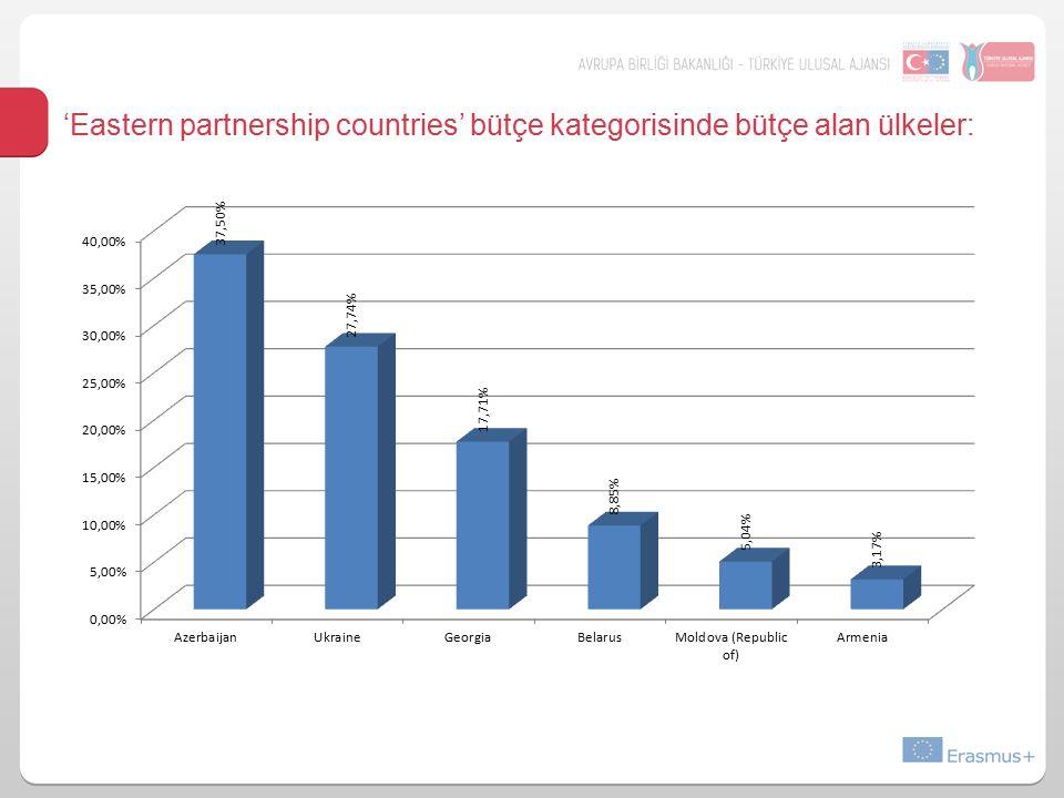 'Eastern partnership countries' bütçe kategorisinde bütçe alan ülkeler: