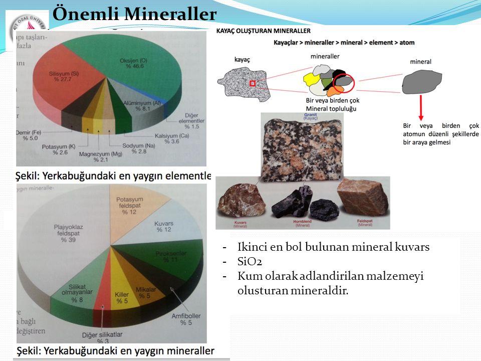 Önemli Mineraller  Ikinci en bol bulunan mineral kuvars SiO2
