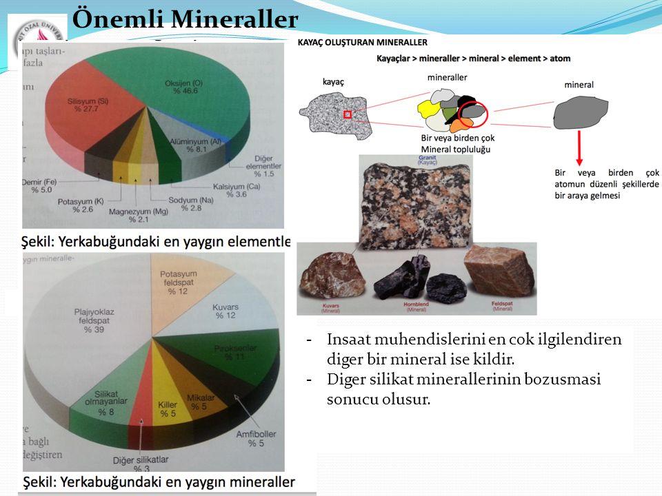 Önemli Mineraller  Insaat muhendislerini en cok ilgilendiren diger bir mineral ise kildir.