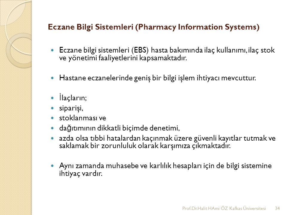 Eczane Bilgi Sistemleri (Pharmacy Information Systems)