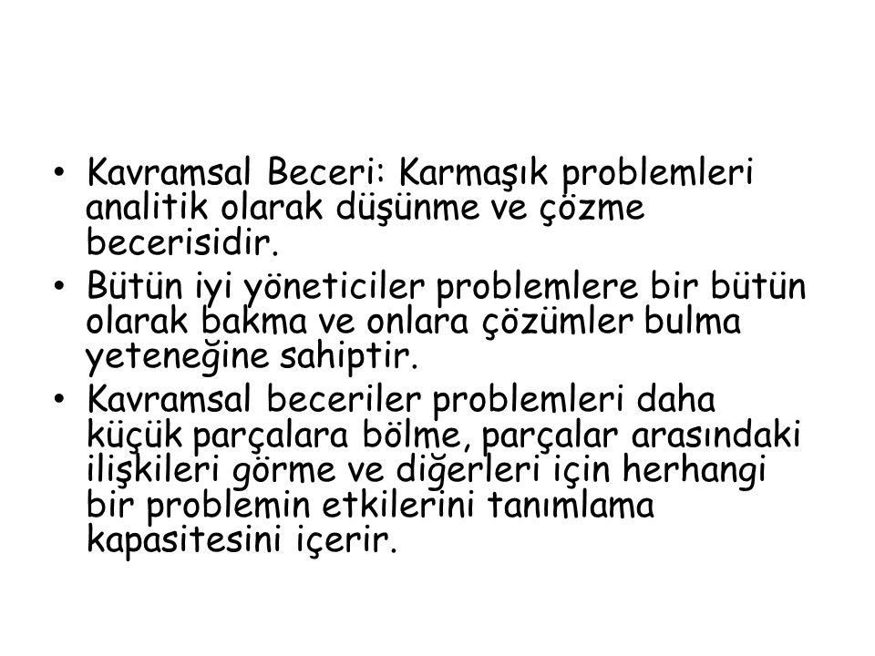 Kavramsal Beceri: Karmaşık problemleri analitik olarak düşünme ve çözme becerisidir.