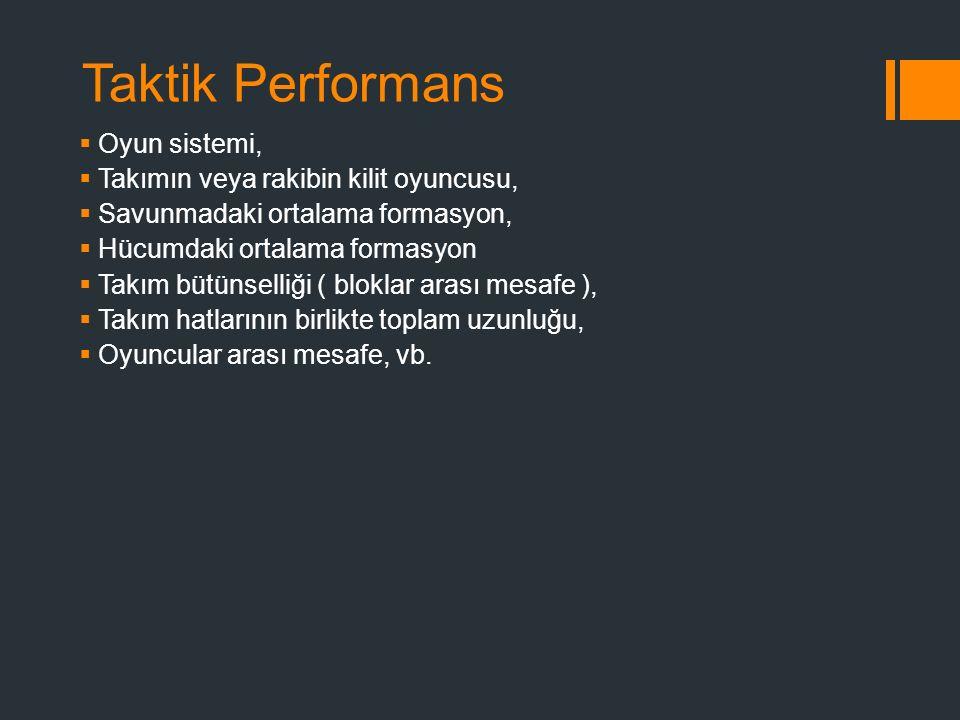 Taktik Performans Oyun sistemi, Takımın veya rakibin kilit oyuncusu,