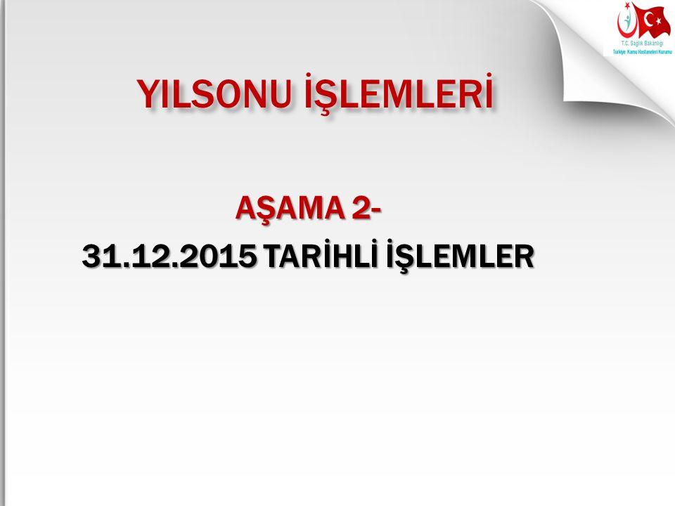 AŞAMA 2- 31.12.2015 TARİHLİ İŞLEMLER