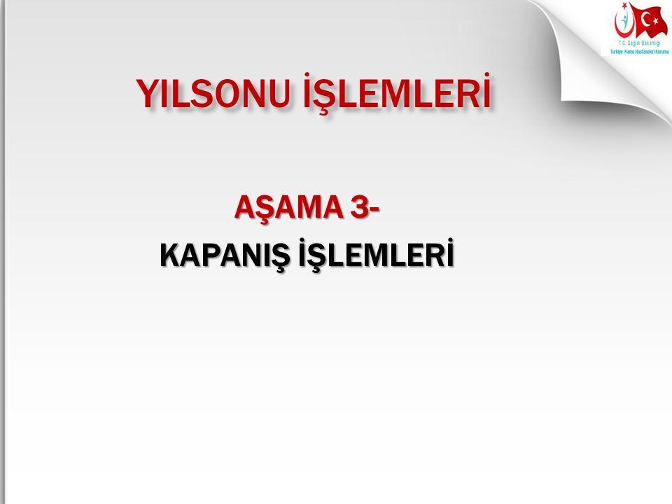AŞAMA 3- KAPANIŞ İŞLEMLERİ