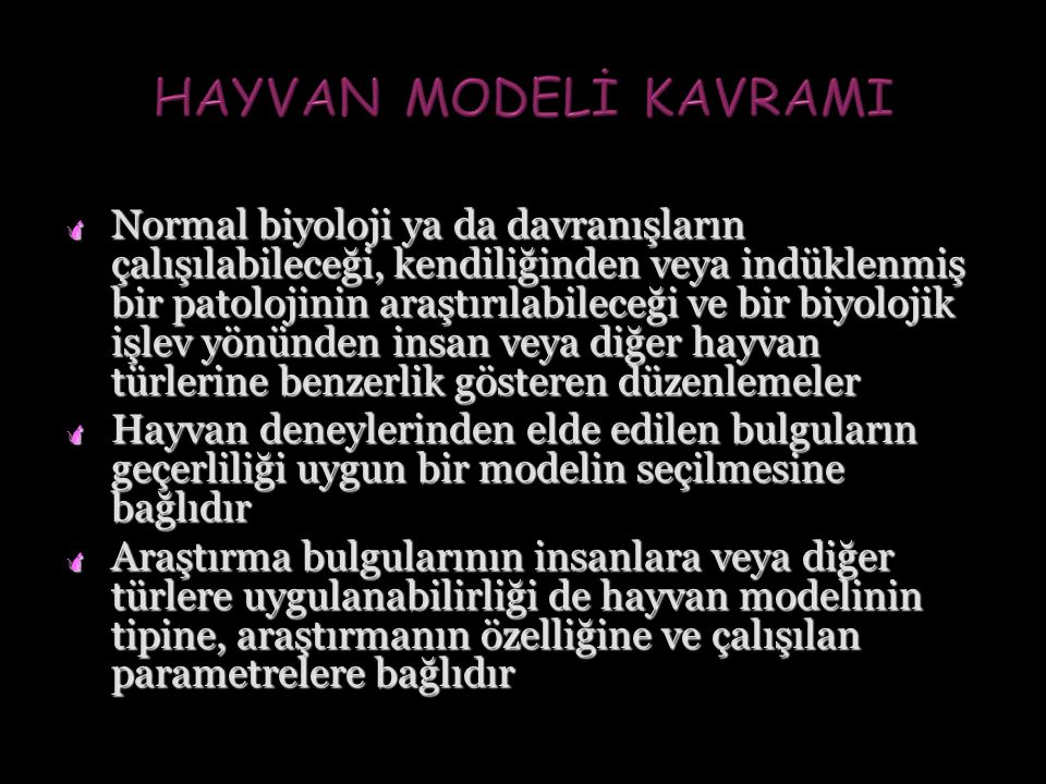 HAYVAN MODELİ KAVRAMI