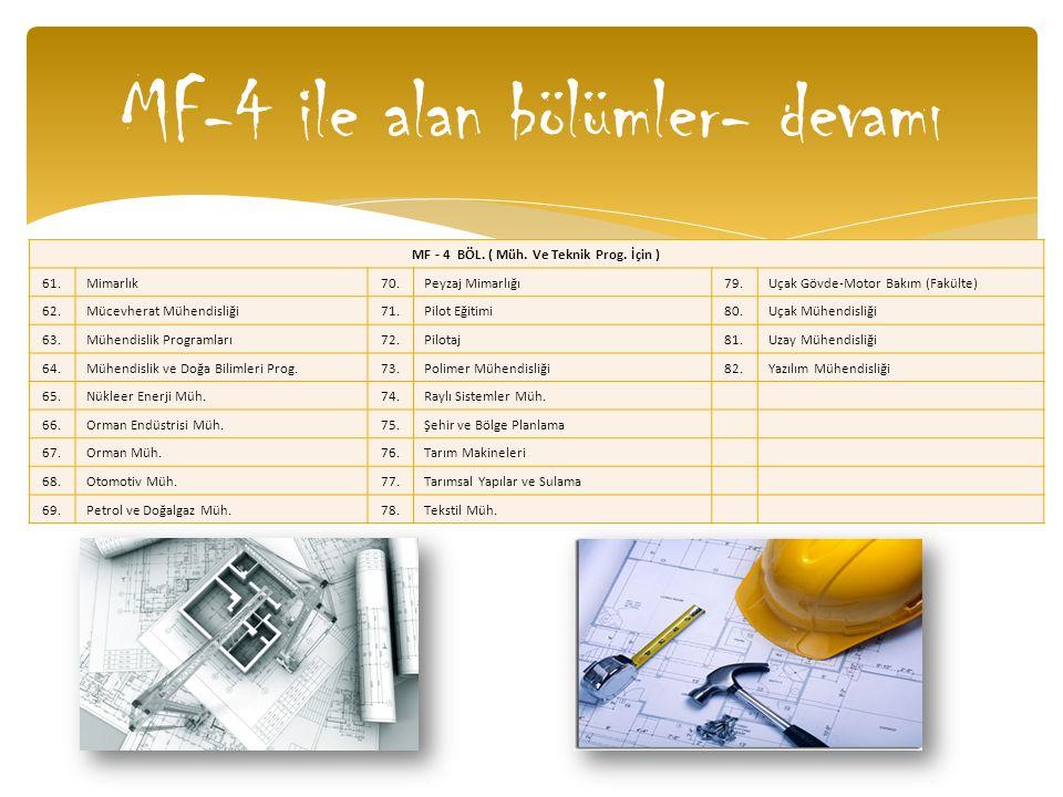 MF-4 ile alan bölümler- devamı