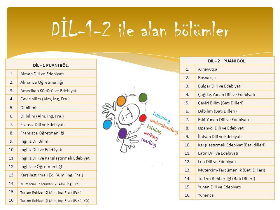 DİL-1-2 ile alan bölümler