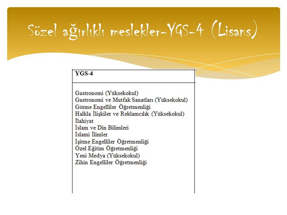 Sözel ağırlıklı meslekler-YGS-4 (Lisans)