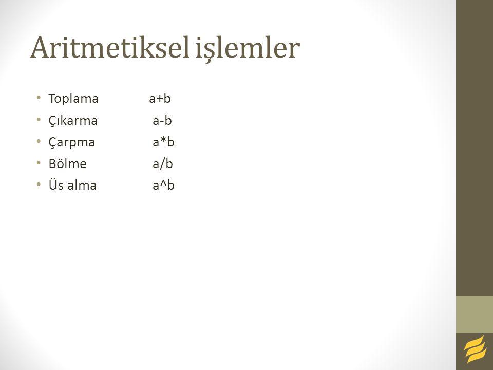 Aritmetiksel işlemler