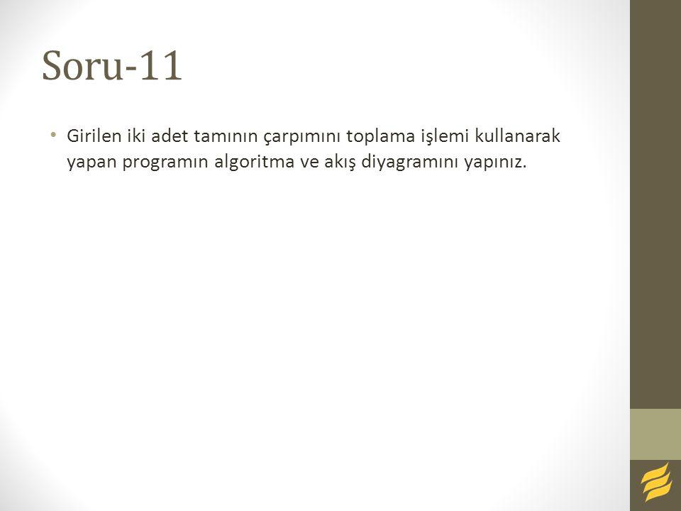 Soru-11 Girilen iki adet tamının çarpımını toplama işlemi kullanarak yapan programın algoritma ve akış diyagramını yapınız.