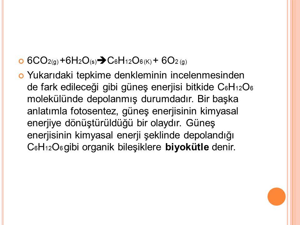 6CO2(g) +6H2O(s)C6H12O6 (K) + 6O2 (g)