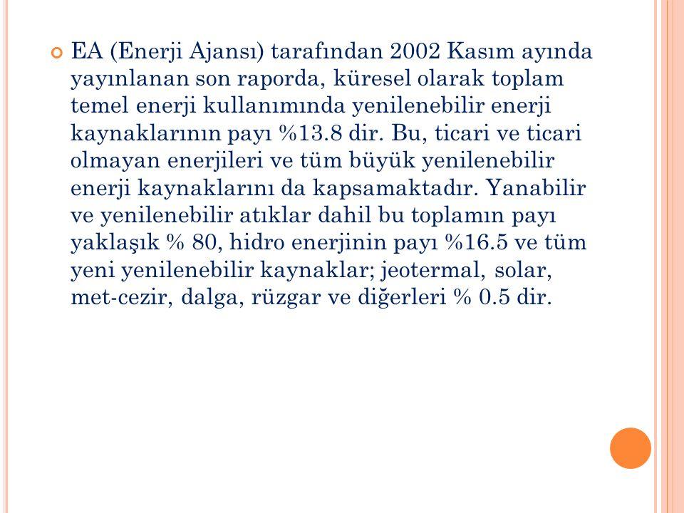 EA (Enerji Ajansı) tarafından 2002 Kasım ayında yayınlanan son raporda, küresel olarak toplam temel enerji kullanımında yenilenebilir enerji kaynaklarının payı %13.8 dir.