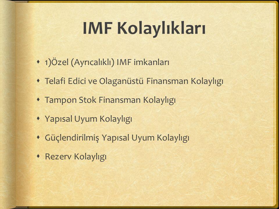 IMF Kolaylıkları 1)Özel (Ayrıcalıklı) IMF imkanları
