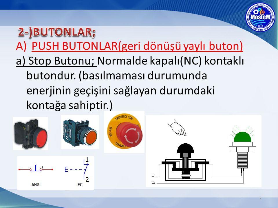 2-)BUTONLAR; PUSH BUTONLAR(geri dönüşü yaylı buton)