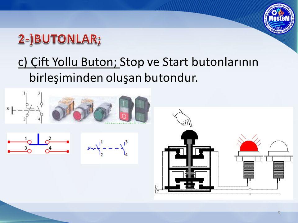 2-)BUTONLAR; c) Çift Yollu Buton; Stop ve Start butonlarının birleşiminden oluşan butondur.