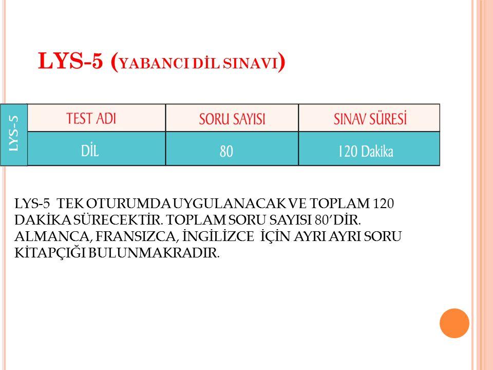 LYS-5 (YABANCI DİL SINAVI)