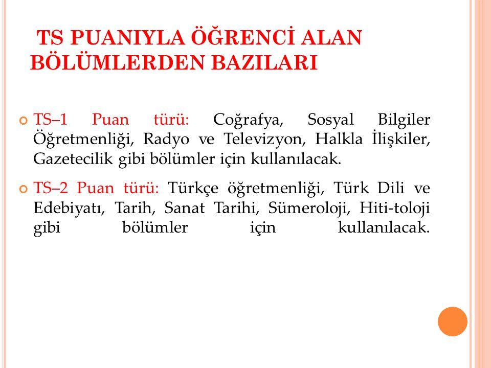 TS PUANIYLA ÖĞRENCİ ALAN BÖLÜMLERDEN BAZILARI