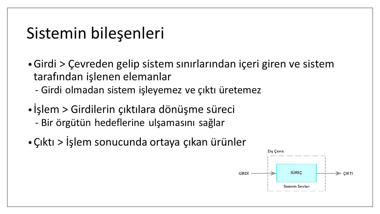 Sistemin bileşenleri Girdi > Çevreden gelip sistem sınırlarından içeri giren ve sistem tarafından işlenen elemanlar.