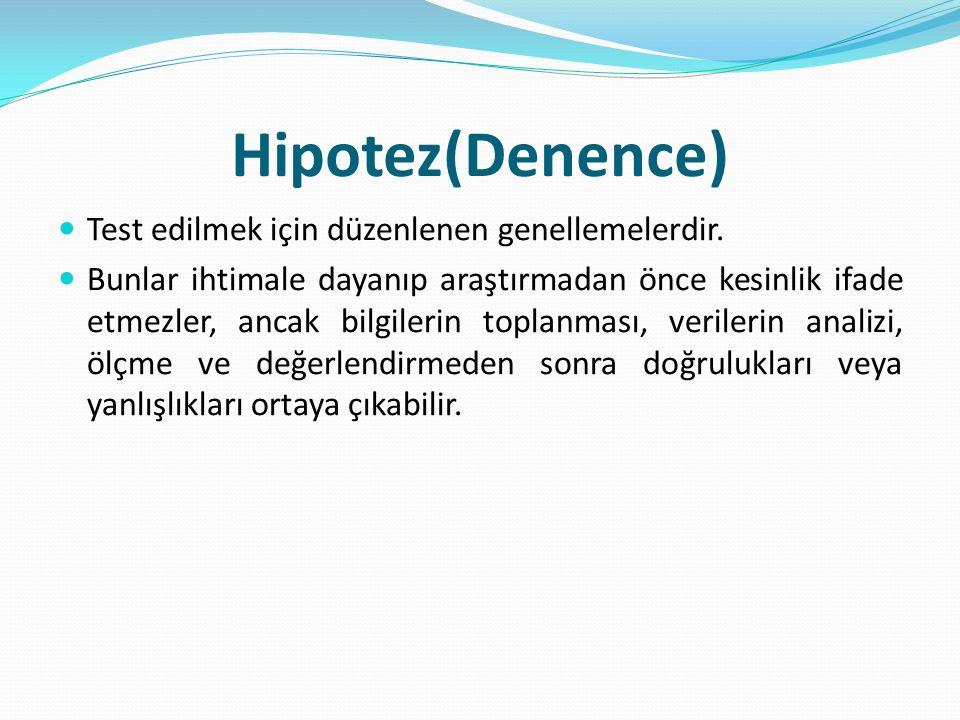Hipotez(Denence) Test edilmek için düzenlenen genellemelerdir.