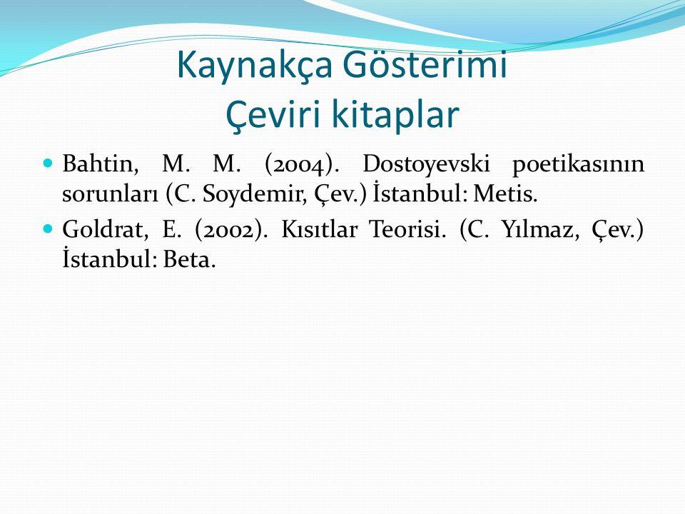 Kaynakça Gösterimi Çeviri kitaplar