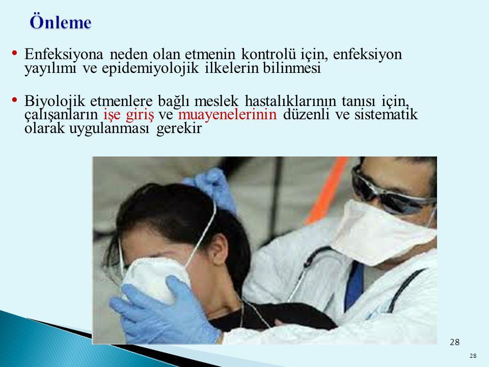 Önleme Enfeksiyona neden olan etmenin kontrolü için, enfeksiyon yayılımı ve epidemiyolojik ilkelerin bilinmesi.