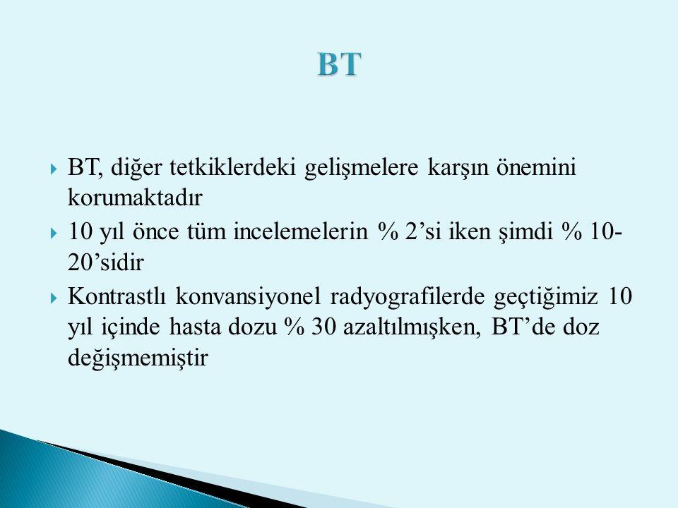 BT BT, diğer tetkiklerdeki gelişmelere karşın önemini korumaktadır