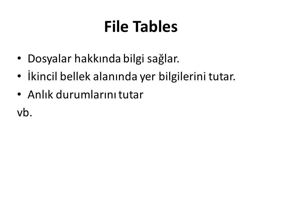 File Tables Dosyalar hakkında bilgi sağlar.