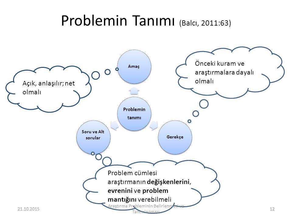 Problemin Tanımı (Balcı, 2011:63)