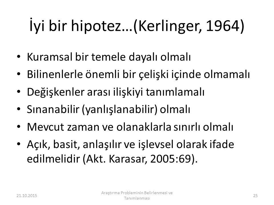 İyi bir hipotez…(Kerlinger, 1964)
