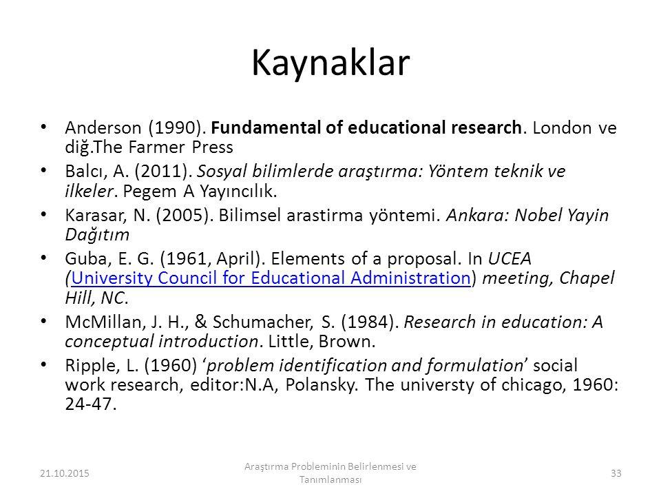 Araştırma Probleminin Belirlenmesi ve Tanımlanması