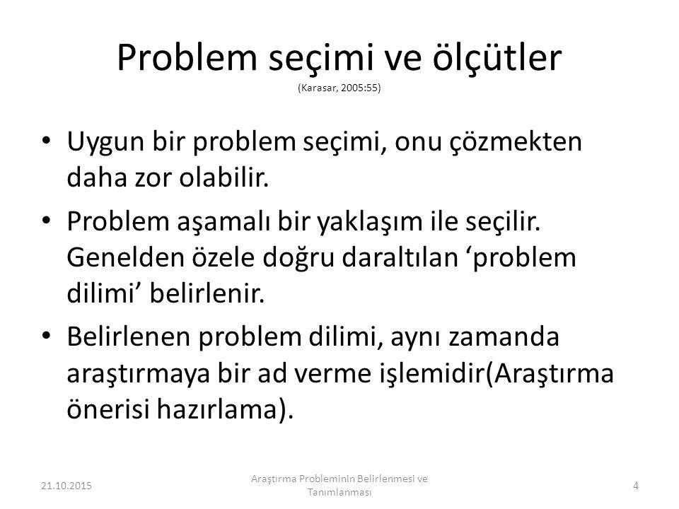 Problem seçimi ve ölçütler (Karasar, 2005:55)