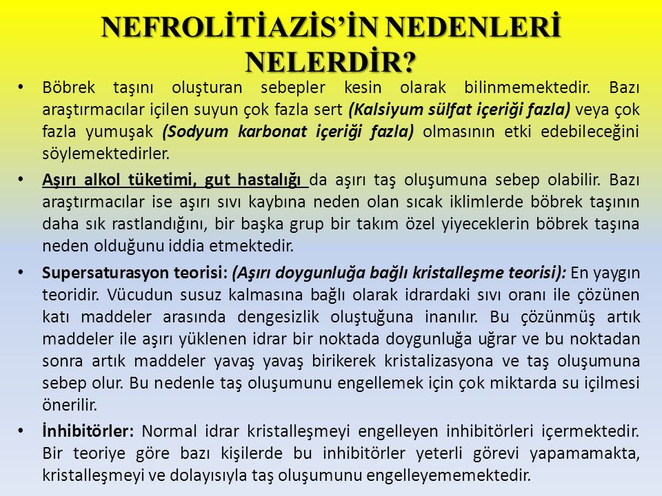 NEFROLİTİAZİS'İN NEDENLERİ NELERDİR
