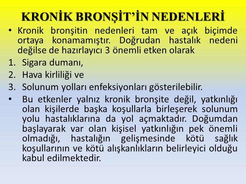 KRONİK BRONŞİT'İN NEDENLERİ