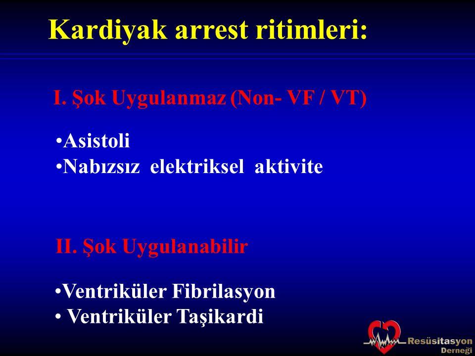 Kardiyak arrest ritimleri: