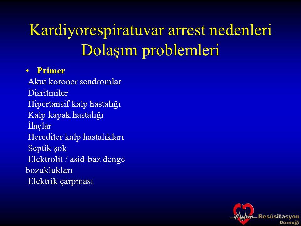 Kardiyorespiratuvar arrest nedenleri Dolaşım problemleri