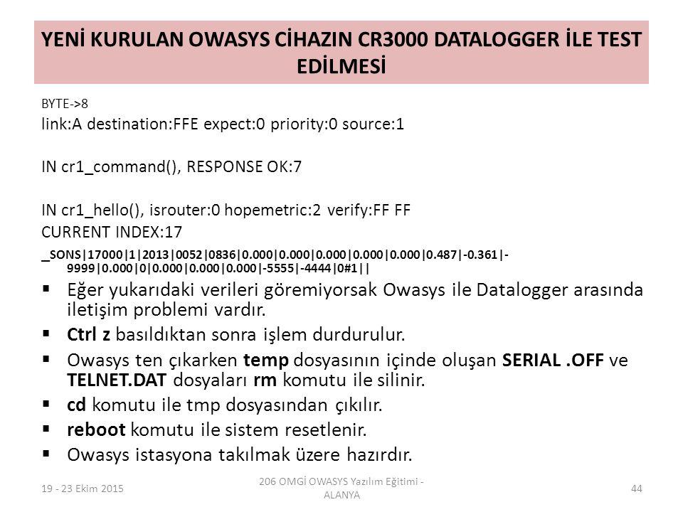 YENİ KURULAN OWASYS CİHAZIN CR3000 DATALOGGER İLE TEST EDİLMESİ