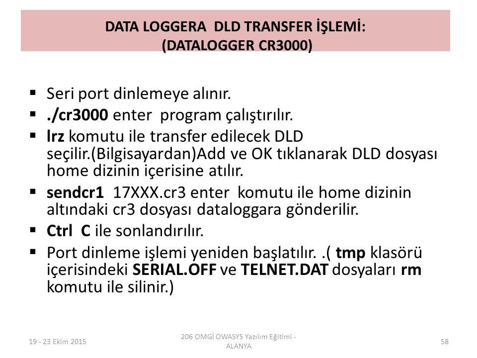 DATA LOGGERA DLD TRANSFER İŞLEMİ: (DATALOGGER CR3000)