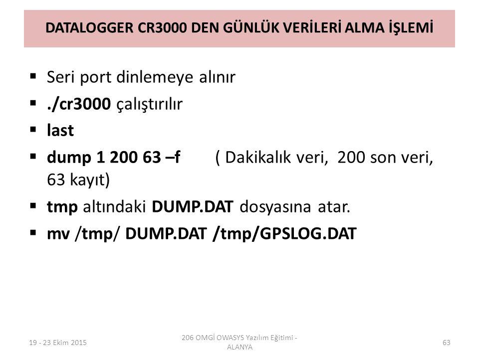 DATALOGGER CR3000 DEN GÜNLÜK VERİLERİ ALMA İŞLEMİ